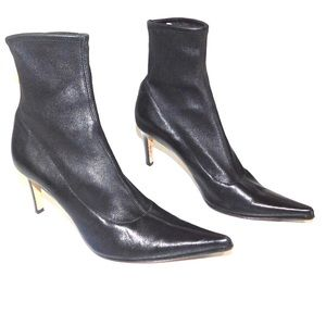 Sergio Rossi Black leather sock boots point toe